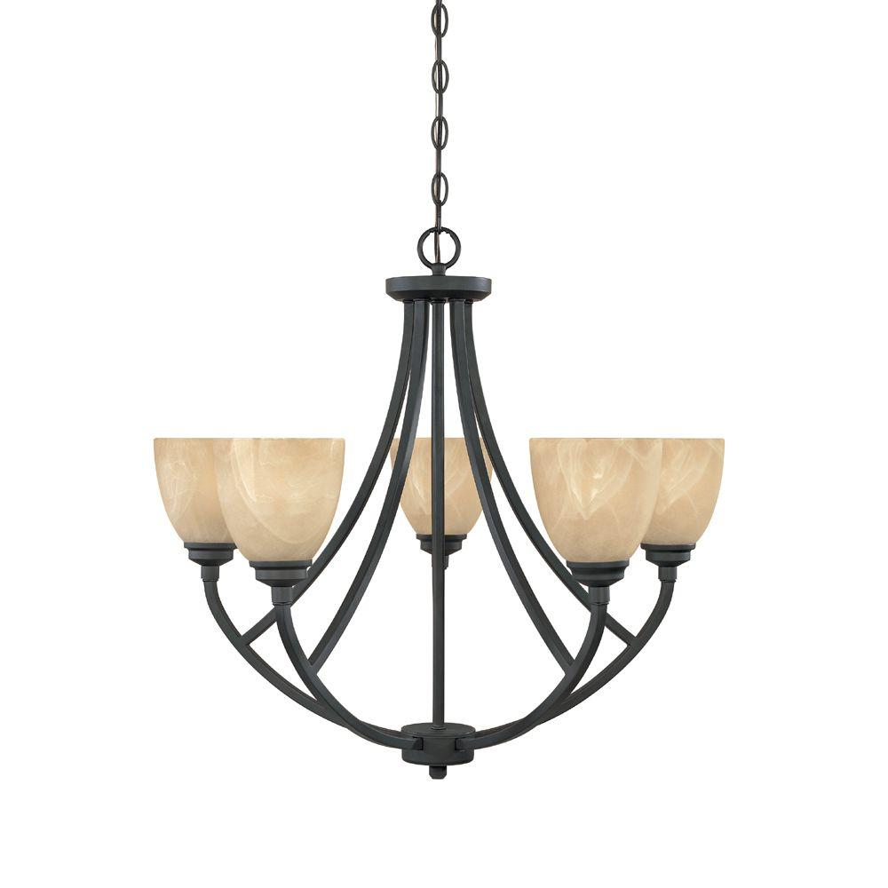 Manhattan 5-Light Burnished Bronze Hanging Chandelier