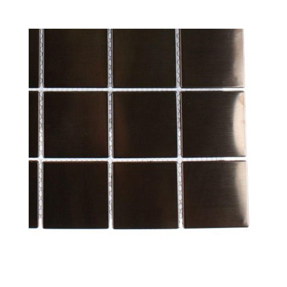 Splashback Tile Metal Rouge Square Stainless Steel Floor and Wall Tile - 6 in. x 6 in. x 11 mm Tile Sample