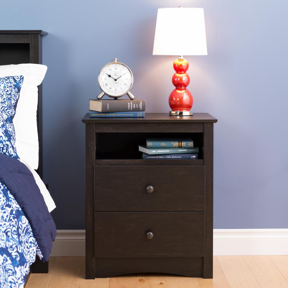 sonoma 2drawer washed black nightstand