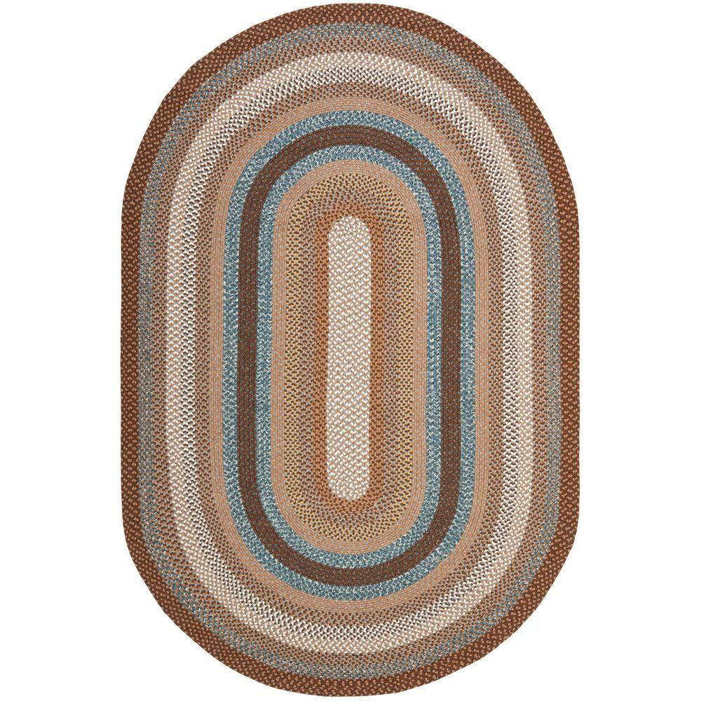 Braided Brown/Multi 8 ft. x 10 ft. Oval Area Rug