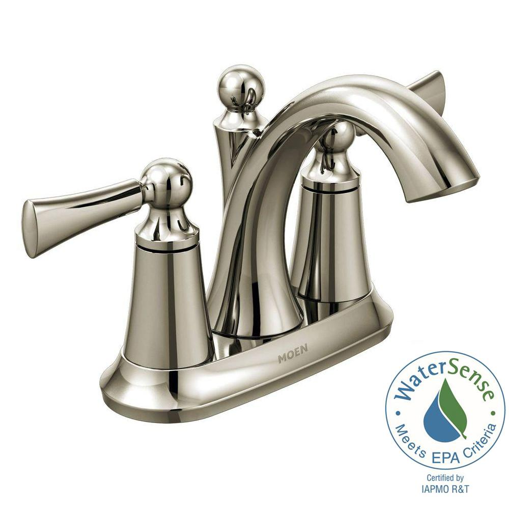 Wynford 4 in. Centerset 2-Handle High-Arc Bathroom Faucet in Polished Nickel
