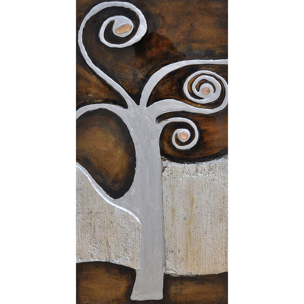 Yosemite Home Decor 14 in. x 28 in. Tree of Life II Hand Painted Contemporary Artwork -DISCONTINUED