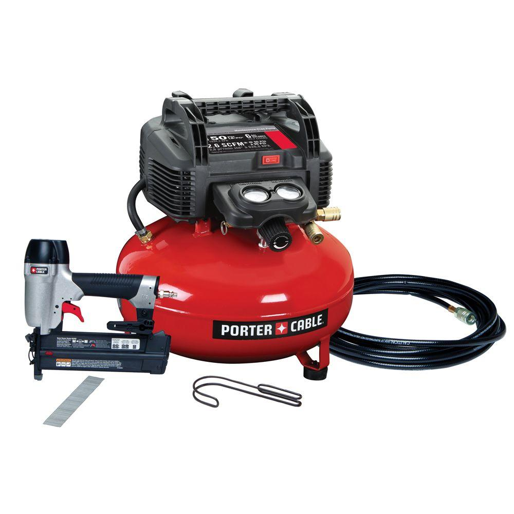 Porter-Cable 6 Gal. Portable Electric Air Compressor and 18-Gauge Brad Nailer Combo Kit