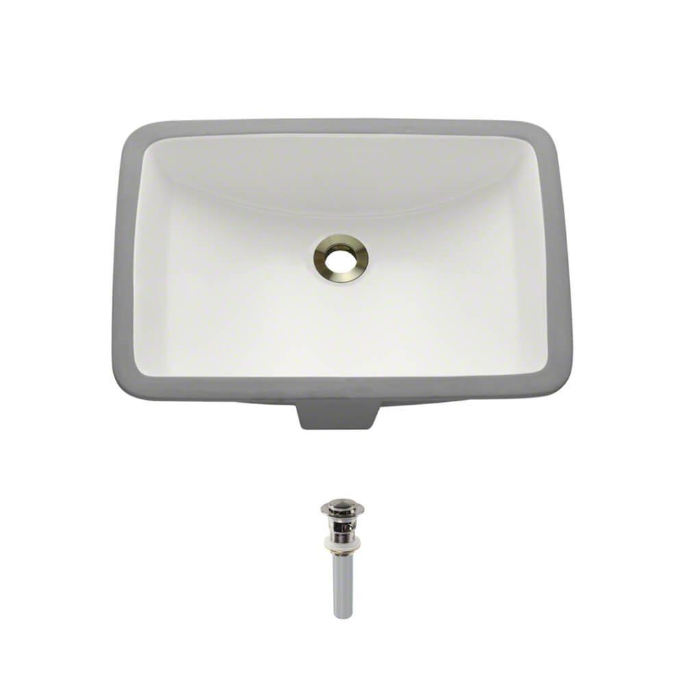 Under-Mount Porcelain Bathroom Sink in Biscuit with Pop-Up Drain in Brushed