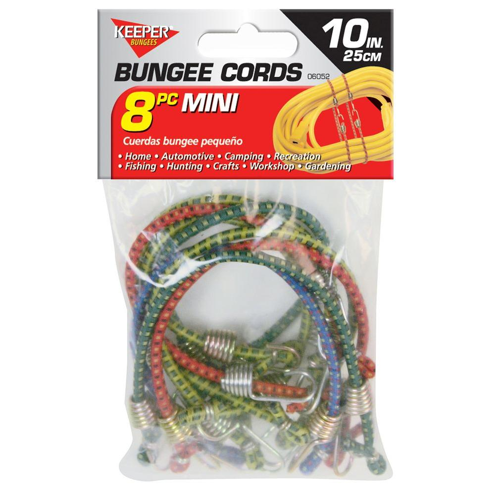 "Keeper 10"" Mini Bungee Cords, 8 Pack"