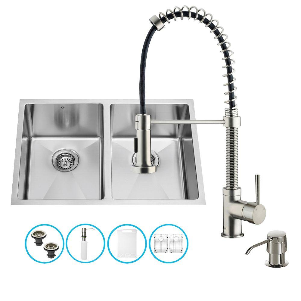 Vigo All-in-One Undermount Stainless Steel 29 in. Double Bowl Kitchen Sink