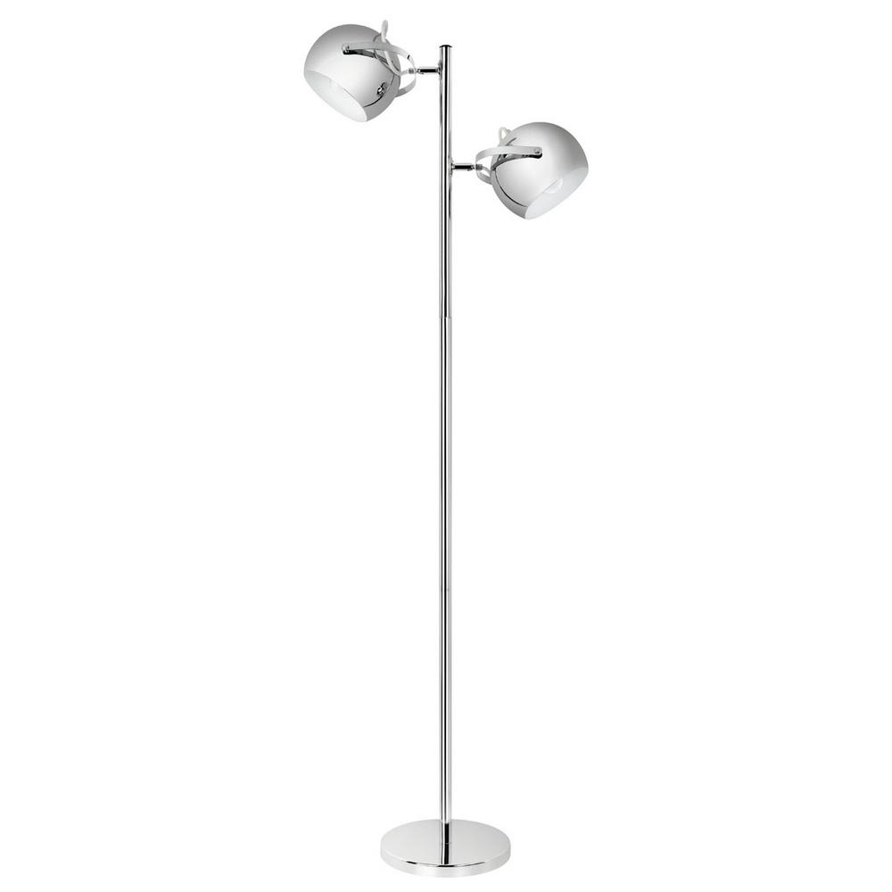 Globe Electric 61 in. Chrome 2-Light Adjustable Head Floor Lamp In-Line