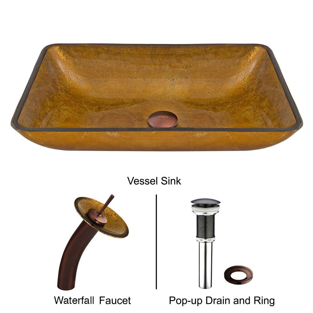Rectangular Glass Vessel Sink in Copper with Waterfall Faucet Set in