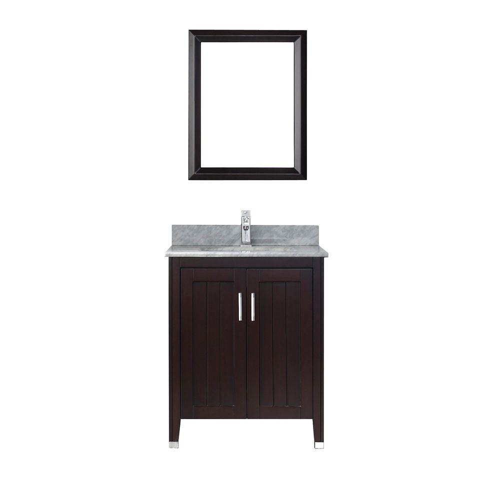 Studio Bathe Jackie 28 in. Vanity in Chai with Marble Vanity Top in Chai and Mirror