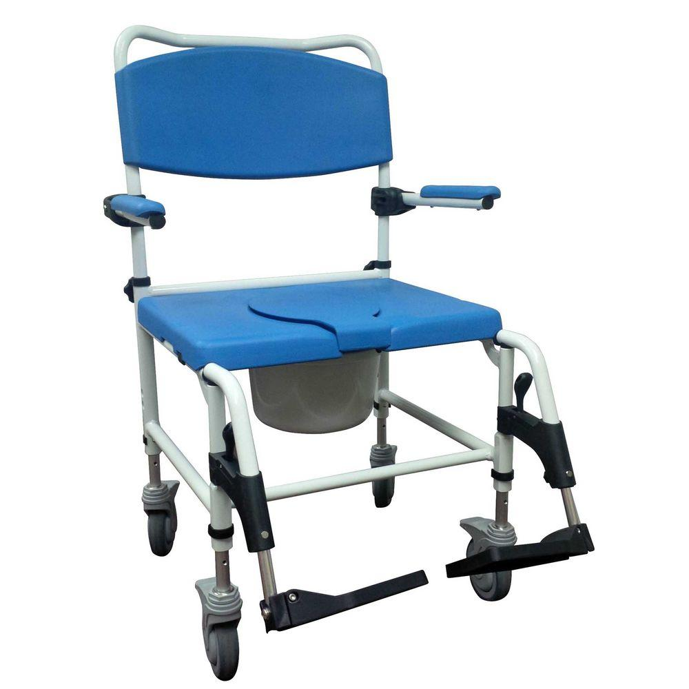 Drive Aluminum Bariatric Rehab Shower Commode Chair with 2 Rear-Locking Casters, Blue And White