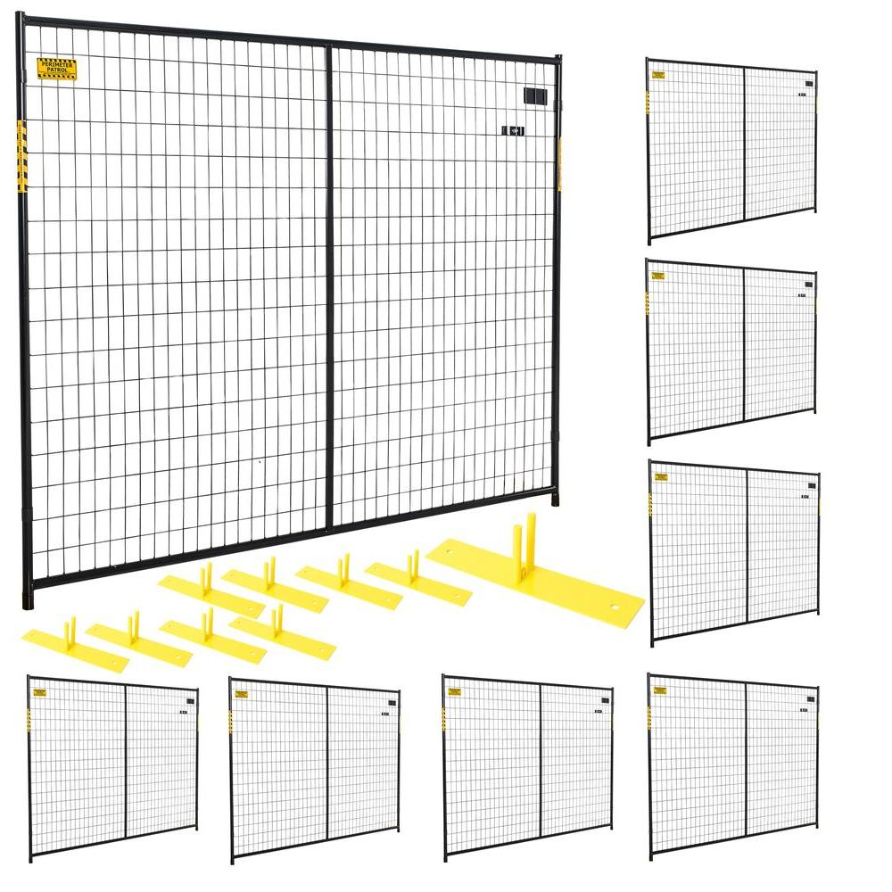 6 ft. x 58 ft. 8-Panel Black Powder-Coated Welded Wire Temporary