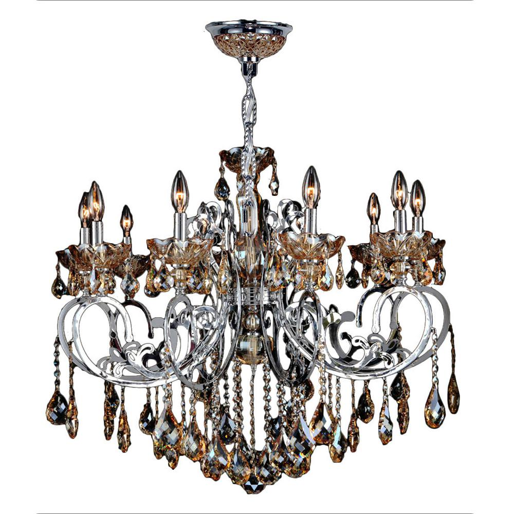 Kronos 10-Light Chrome with Amber Crystal Large Chandelier