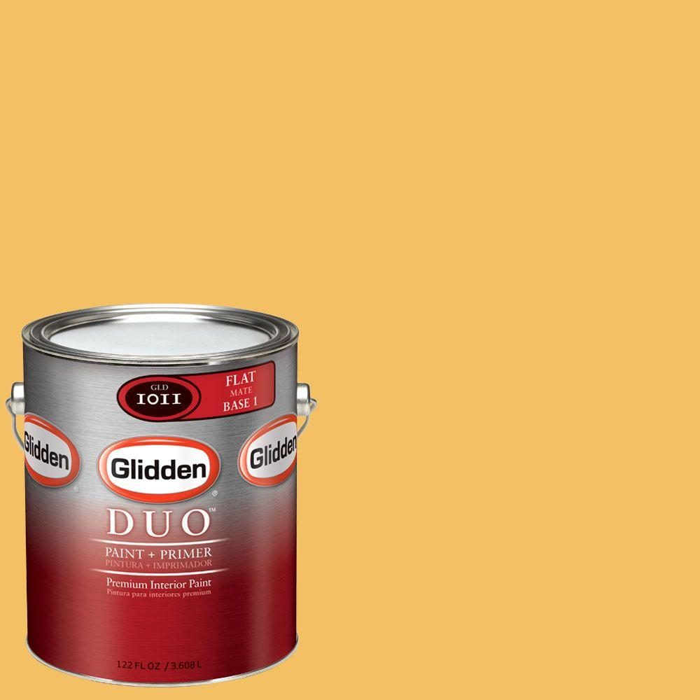 Glidden DUO 1-gal. #GLY02-01F Warm Gold Flat Interior Paint with