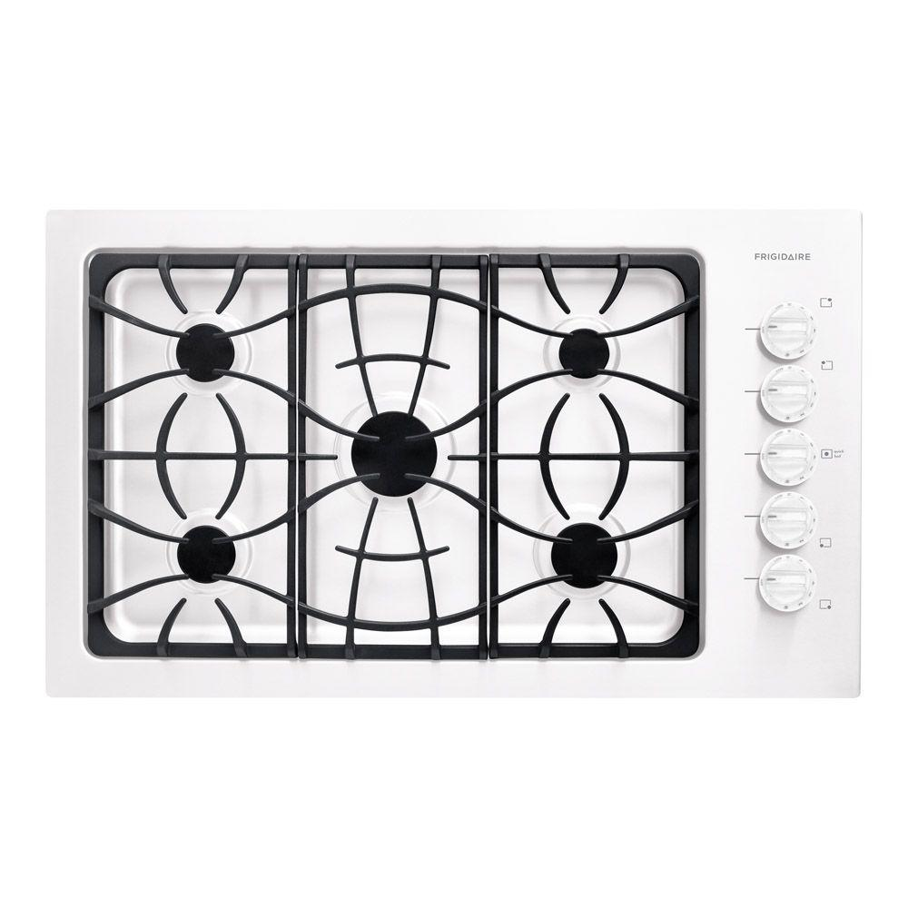 Frigidaire 36 in. Deep Recessed Gas Cooktop in White with 5 Burners