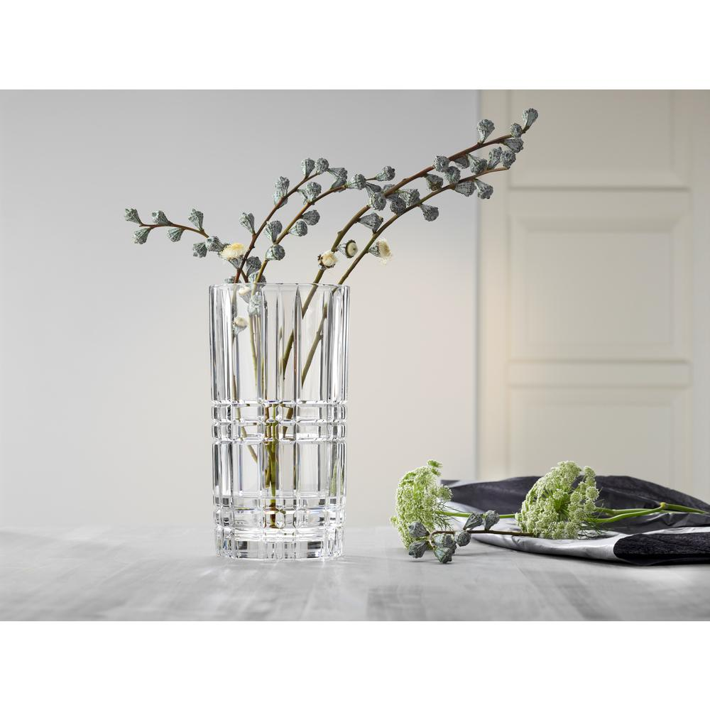Square 11 in. Crystal Decorative Vase in Clear
