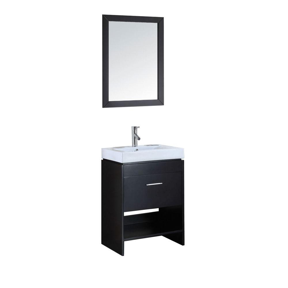 Virtu USA Gloria 24 in. Single Basin Vanity in Espresso with Ceramic Vanity Top in White and Mirror with Shelf-DISCONTINUED