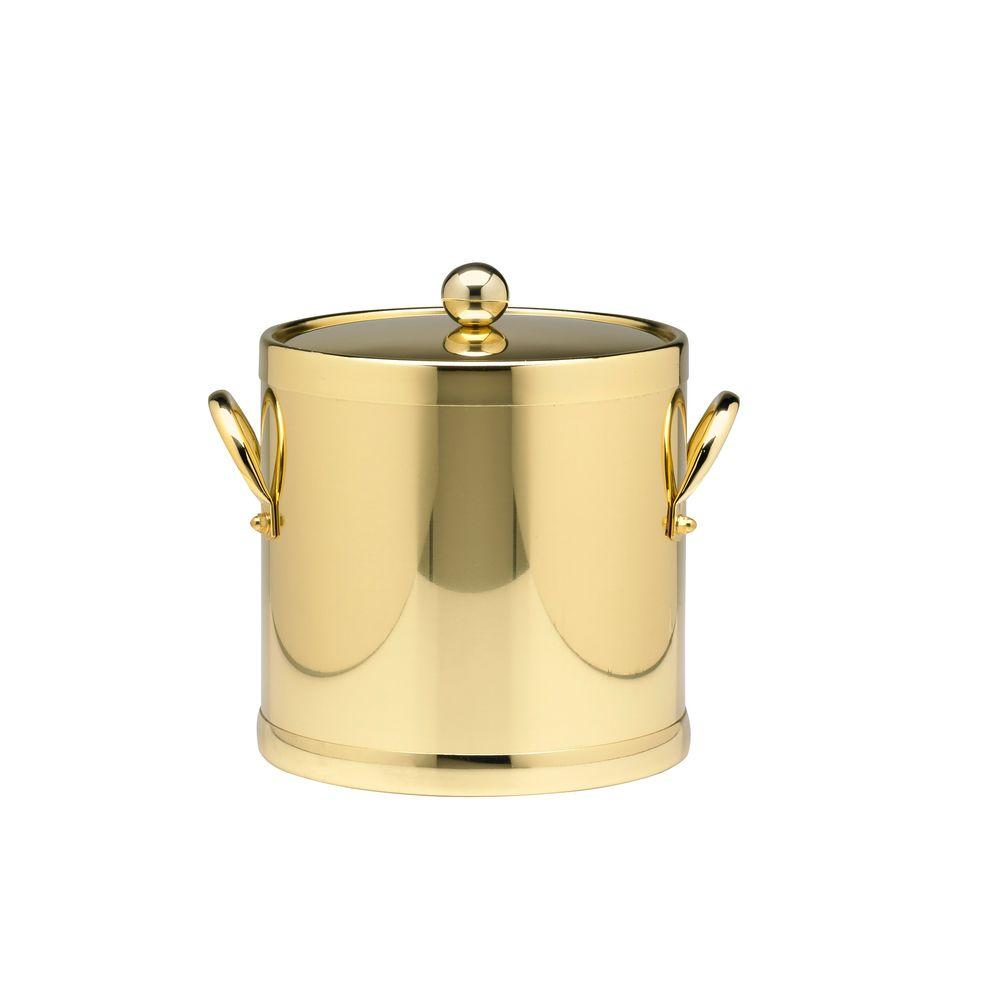 Americano 3 Qt. Polished Brass Ice Bucket and Lid, Metal Side