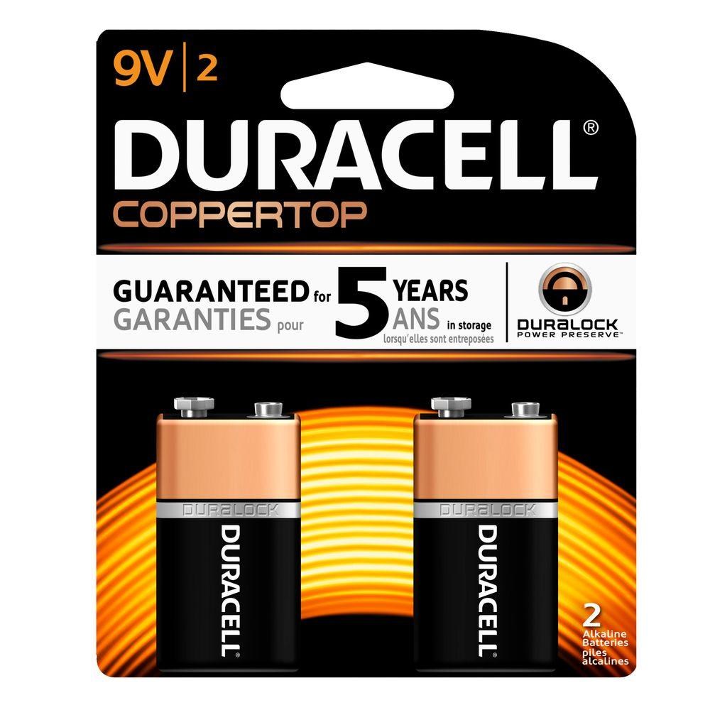 Duracell Coppertop Alkaline 9-Volt Battery (2 per Pack)-004133321601 - The Home