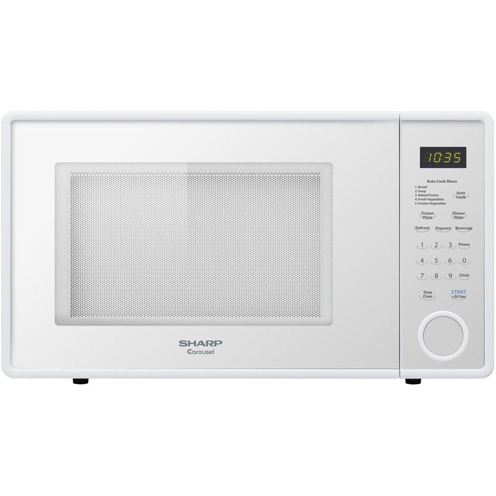 Countertop Microwave White : Sharp Microwave Ovens 1.1 cu. ft. Countertop Microwave in Smooth White ...