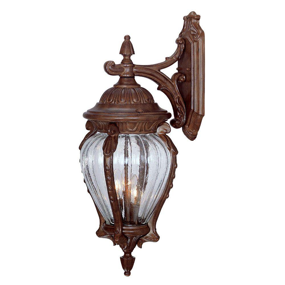 Nottingham Collection 3-Light Burled Walnut Outdoor Wall-Mount Fixture