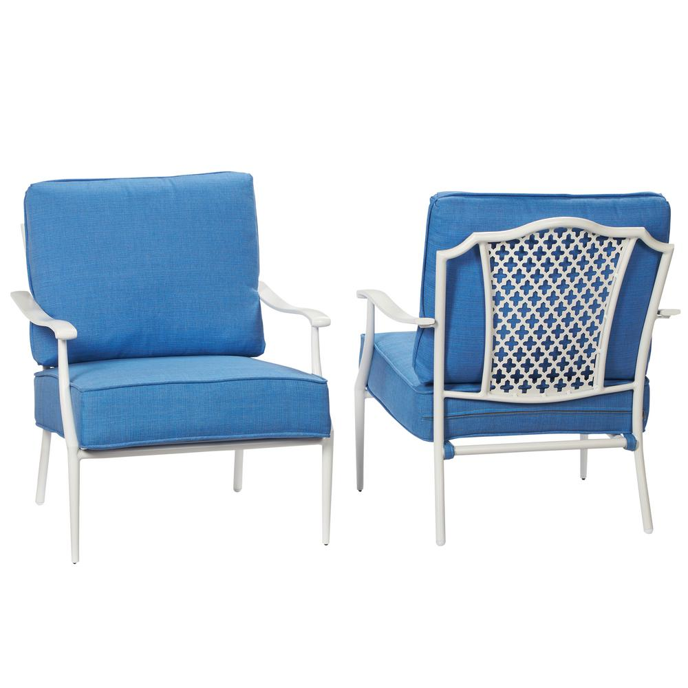 Metal outdoor club chairs - Alveranda Stackable Metal Outdoor Lounge Chair With Periwinkle Cushion 2 Pack
