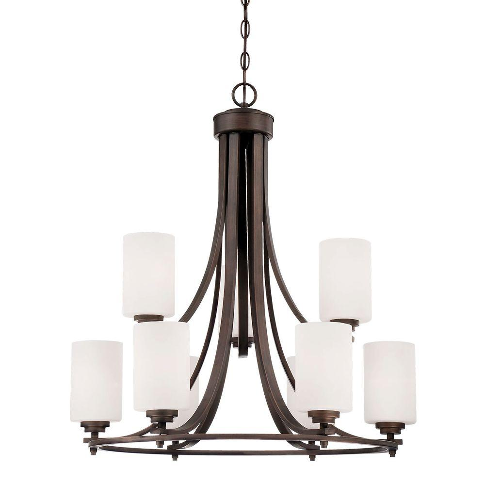 9-Light Rubbed Bronze Chandelier with Etched White Glass