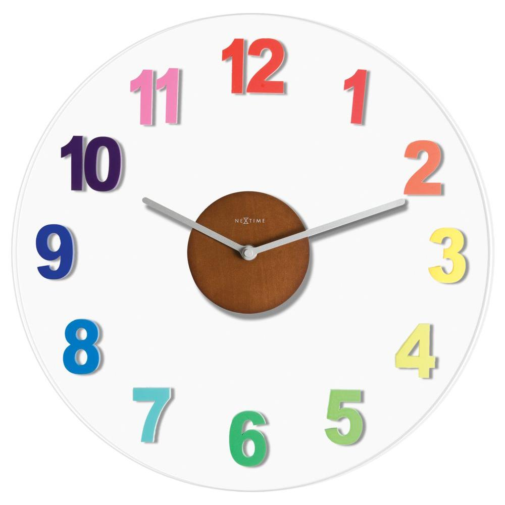 Nextime Richard 15.4 in. Glass and Wood Wall Clock