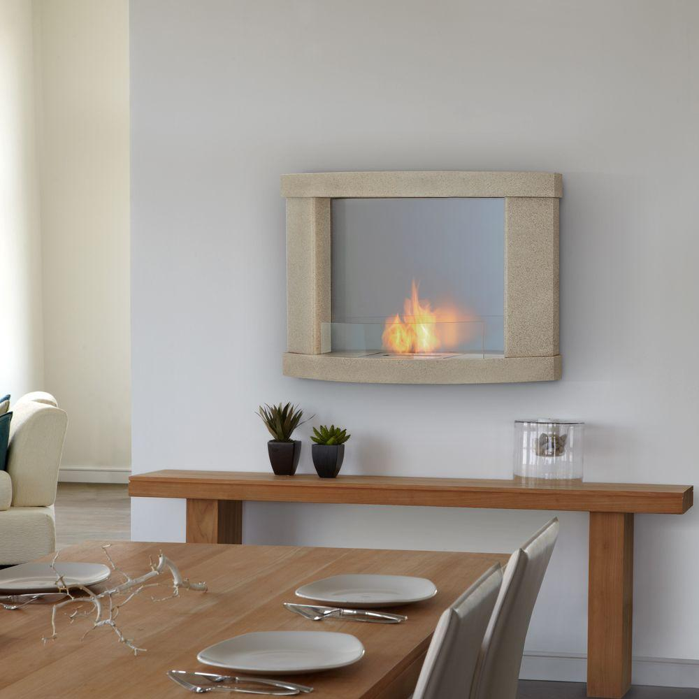 Real Flame Meridian 38 in. Wall-Mount Gel Fuel Fireplace in Cream Speckle-DISCONTINUED