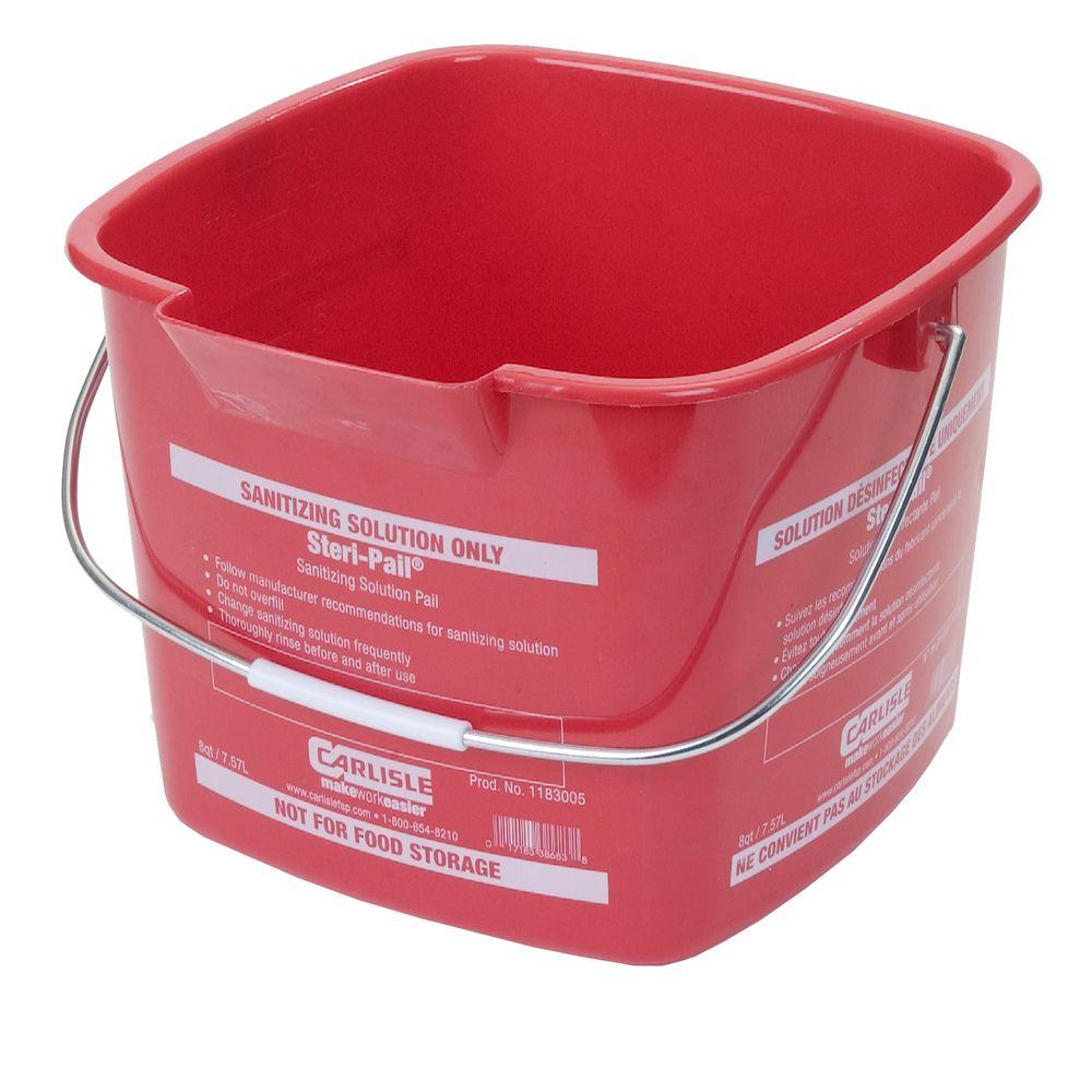 Carlisle 8 Qt. Red Steri-Pail for Sanitizing Solutions (12-Case)