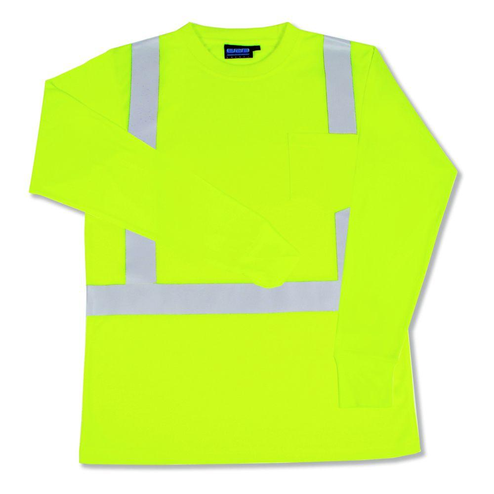 9602S L Class 2 Long Sleeve Hi Viz Lime Unisex Poly Jersey T-Shirt, Size: Large, Yellows/Golds