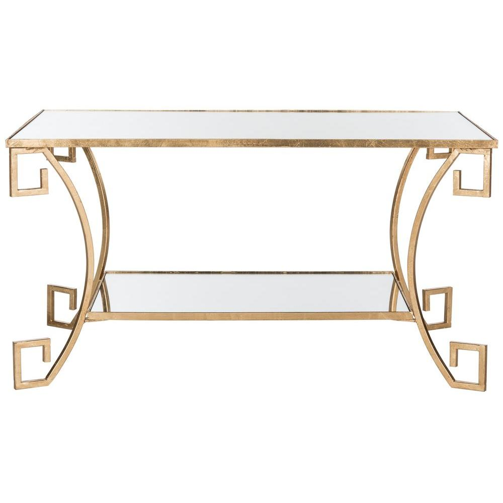 Safavieh Yasemeen Antique Gold Leaf Coffee Table Fox2572a The Home Depot