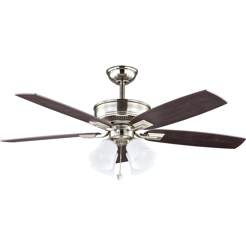 Devron 52 in. LED Indoor Brushed Nickel Ceiling Fan with Light