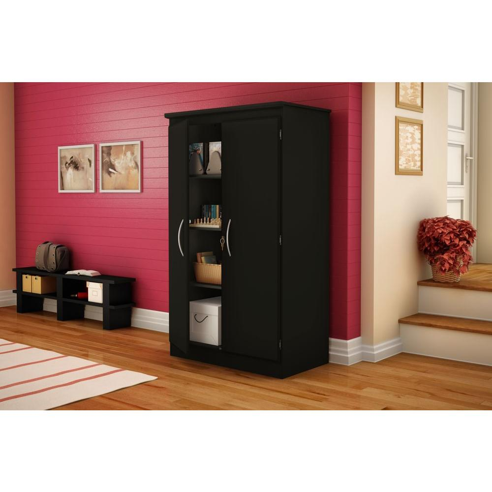 South Shore Morgan Laminated Particleboard Storage Cabinet with Shelves in Pure Black