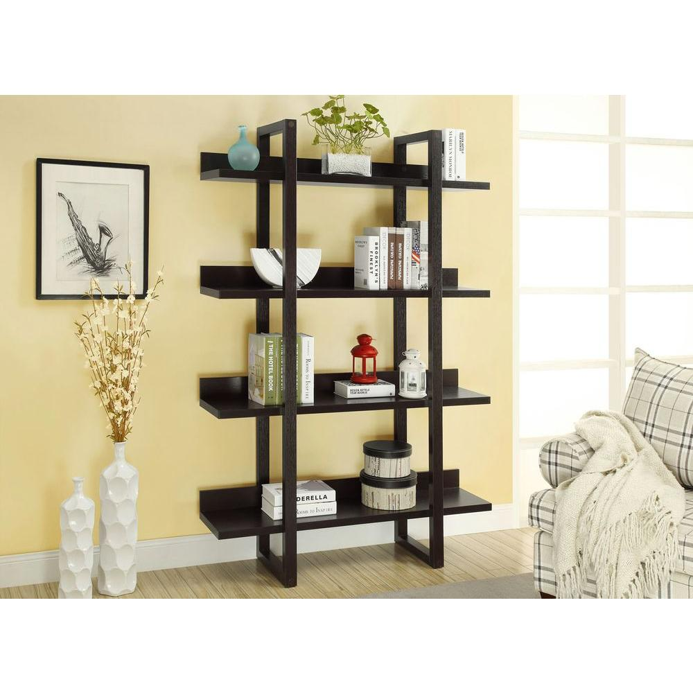 monarch specialties 71 in h 4 shelf open concept display. Black Bedroom Furniture Sets. Home Design Ideas