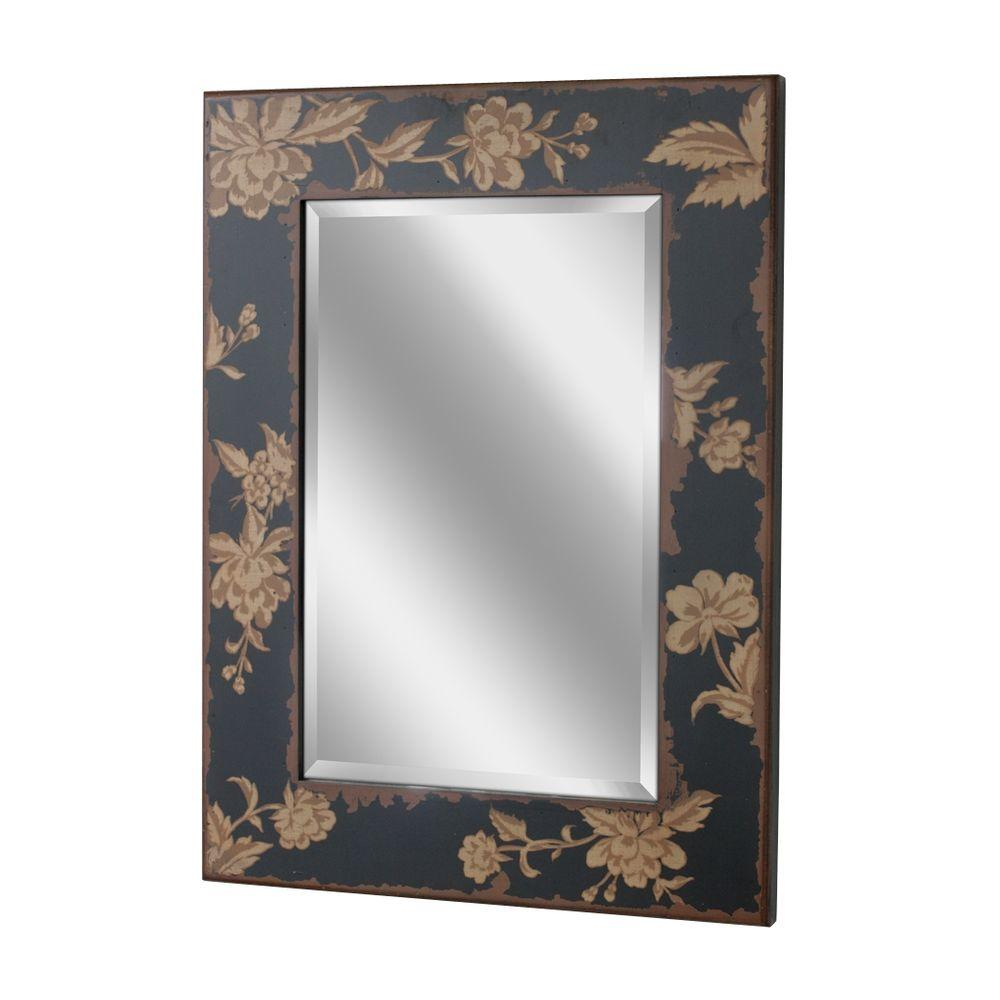 Deco Mirror 32-1/2 in. x 23-1/2 in. Bold Blossom Mirror in Black Background with Earth Tone Floral