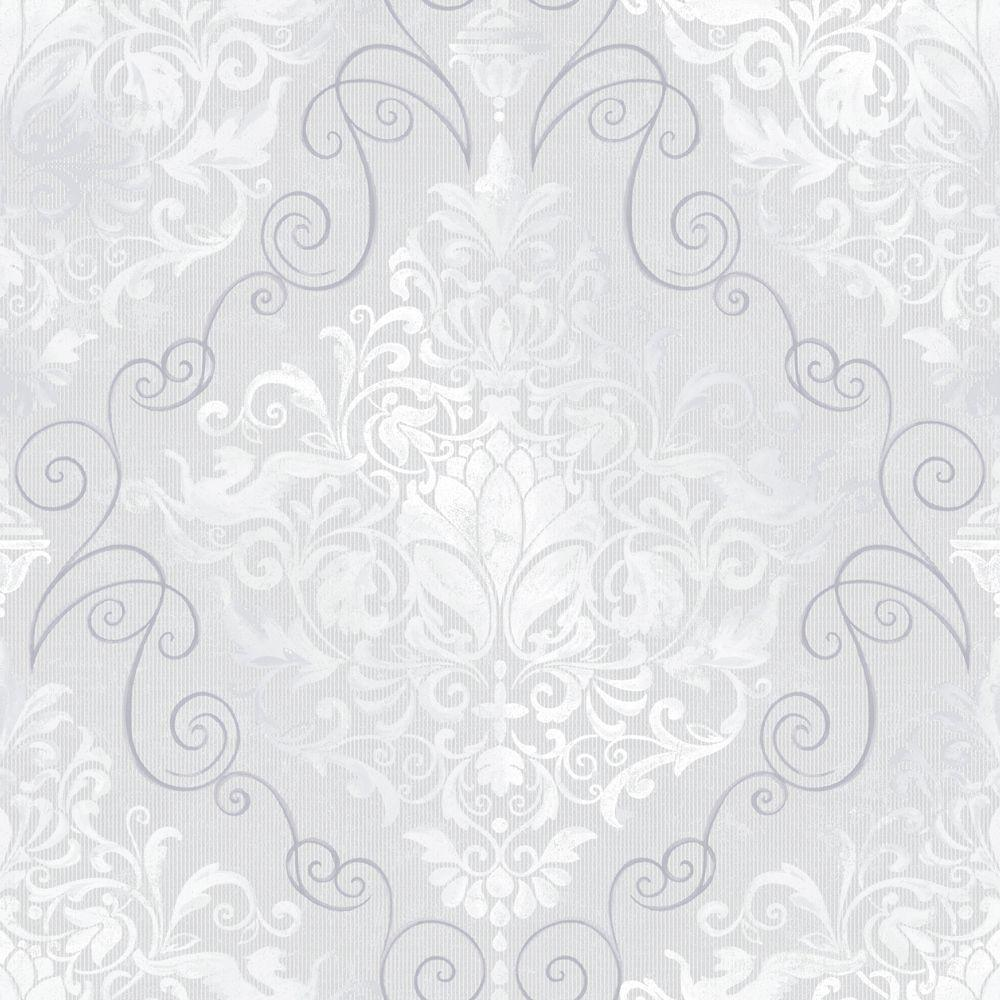 The Wallpaper Company 8 in. x 10 in. Chandeliere Damask Grey Wallpaper Sample