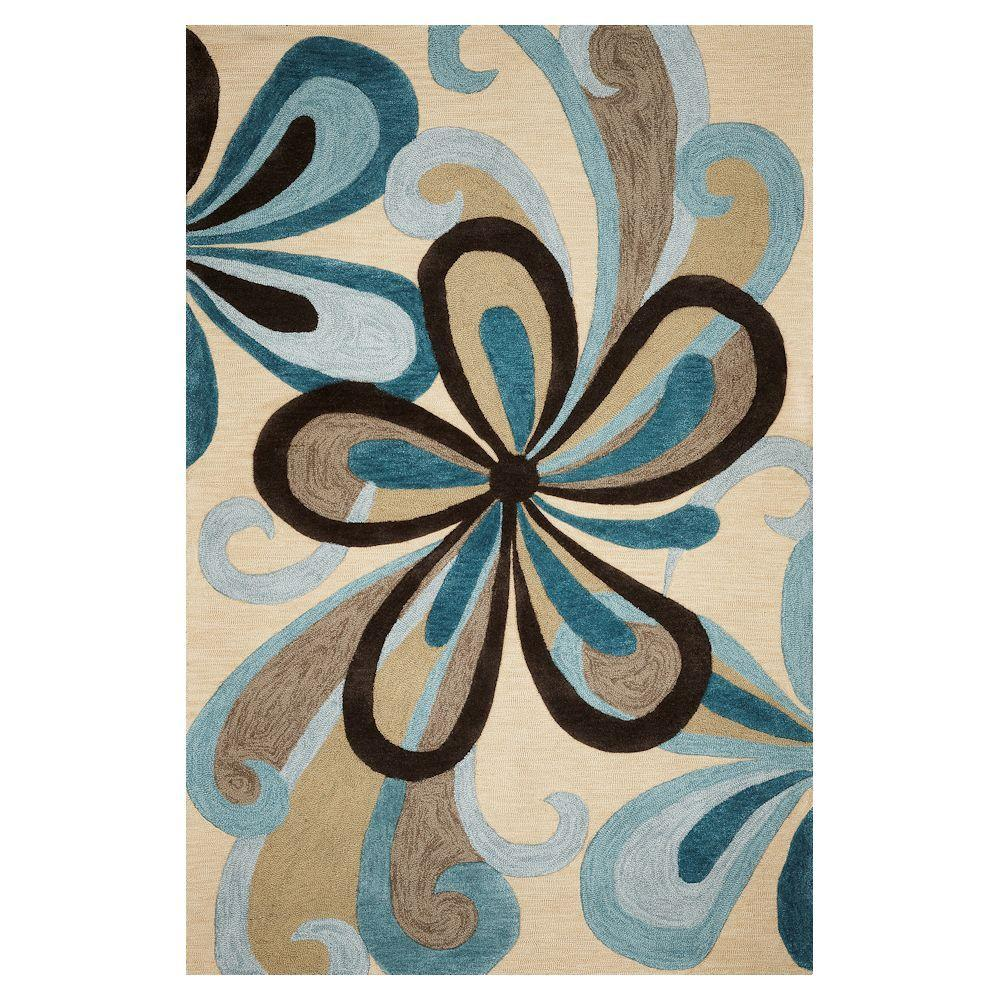 Kas Rugs Curvy Turns Sand/Teal 5 ft. x 7 ft. 6
