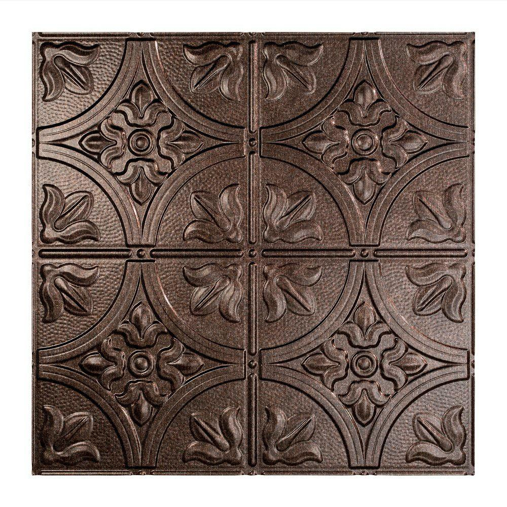 Fasade Traditional 2 - 2 ft. x 2 ft. Smoked Pewter Lay-in Ceiling Tile