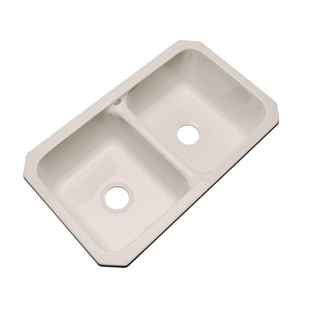 Newport Undermount Acrylic 33 in. 0-Hole Double Bowl Kitchen Sink in Shell (White)
