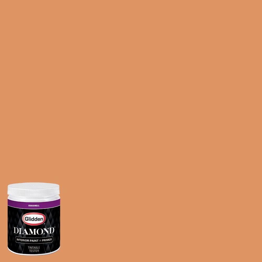 8 oz. #HDGO33D Time For Orange Eggshell Interior Paint with Primer