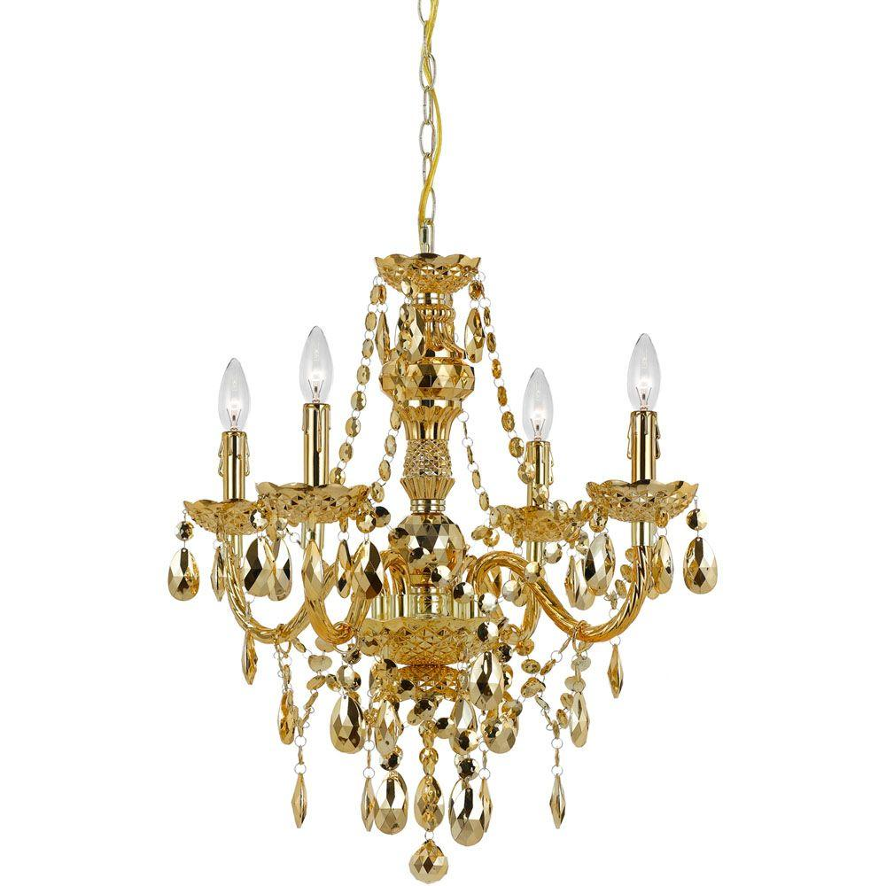 AF Lighting Naples 4 Light Gold Mini Chandelier With