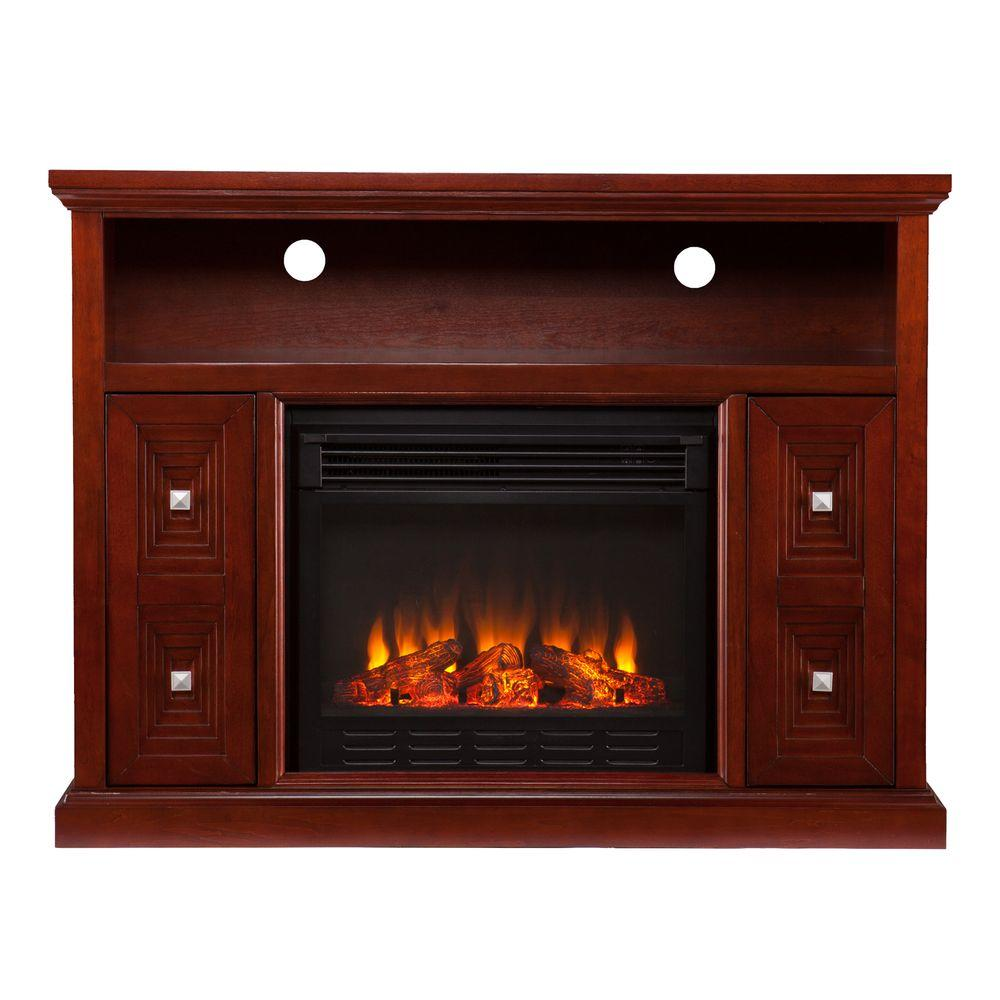 Southern Enterprises Austin 48 in. Media Console Electric Fireplace in Cherry