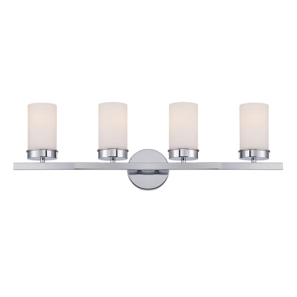 Kandinsky Collection 4-Light Chrome Bath Bar Light with Opal Glass Shade