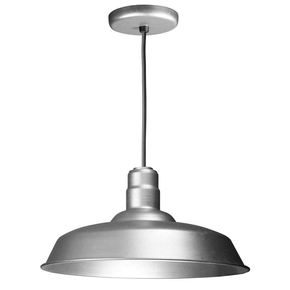 1-Light Ceiling Galvanized Fluorescent Pendant