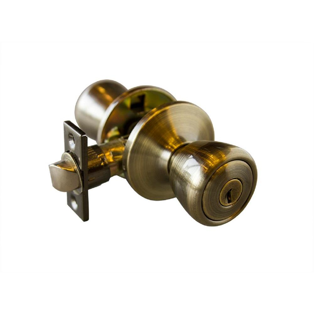 Terrace Antique Brass Entry Knob with Universal 6-Way Latch