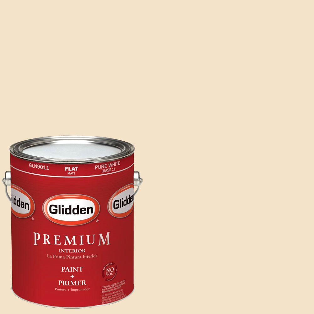 Glidden Premium 1-gal. #HDGY09 Gold Coast White Flat Latex Interior Paint with Primer