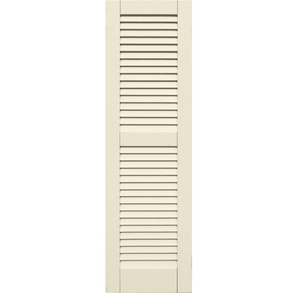 Winworks Wood Composite 15 in. x 51 in. Louvered Shutters Pair #651 Primed/Paintable