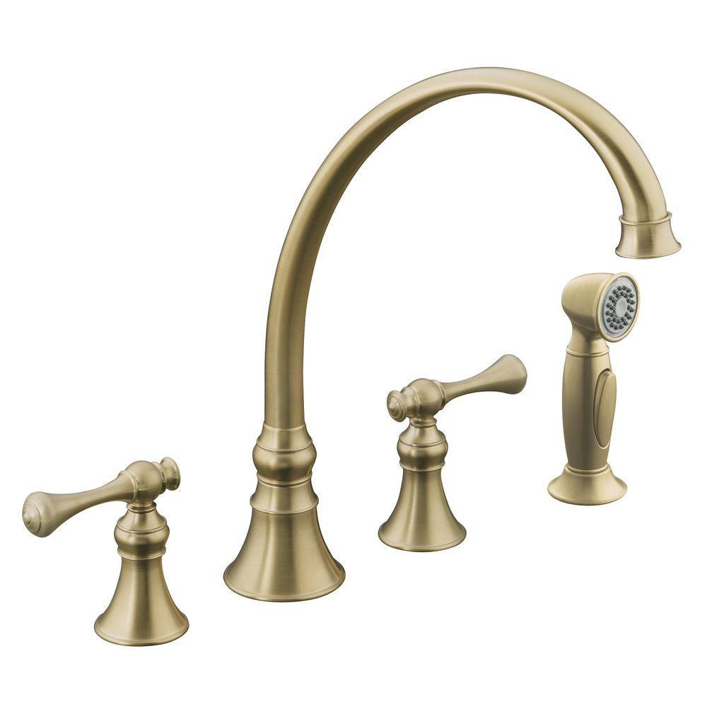 attractive Kohler Revival Kitchen Faucet #3: KOHLER Revival 2-Handle Standard Kitchen Faucet in Vibrant Brushed  Nickel-K-16109-4A-BN - The Home Depot