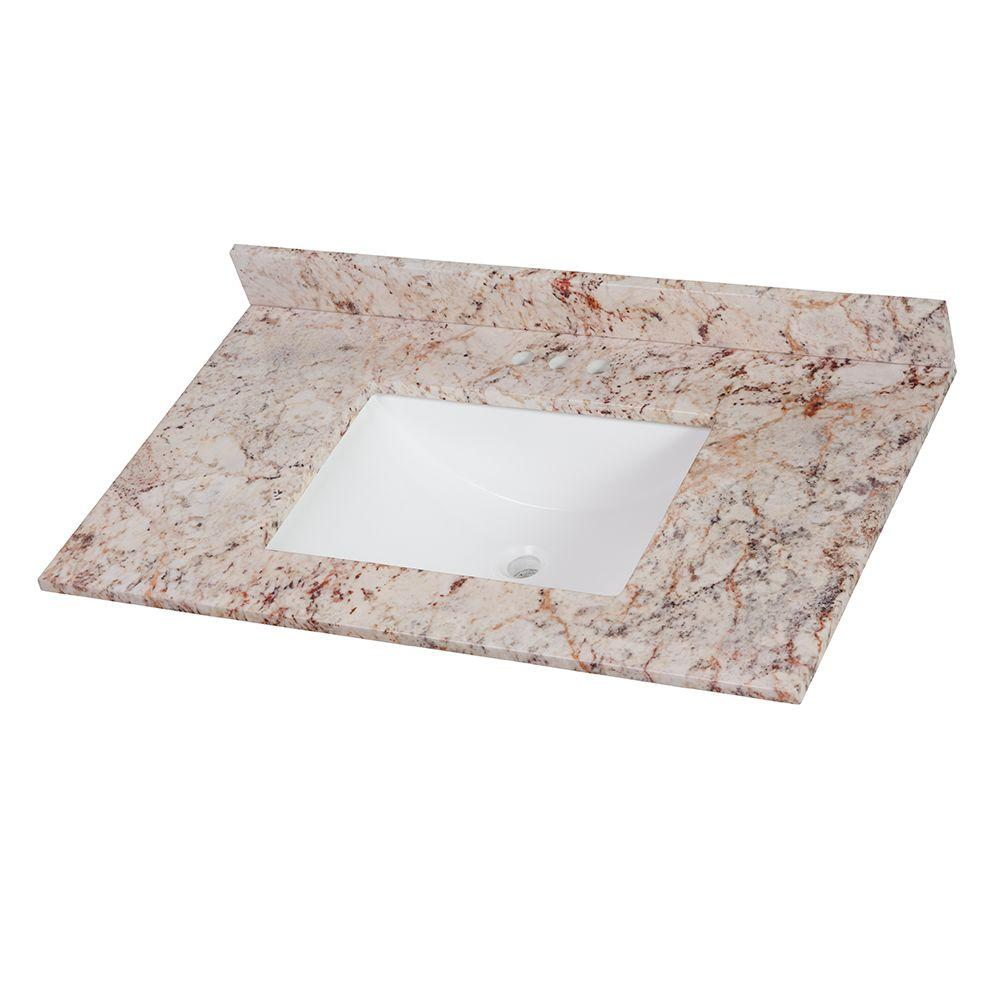 37 in. Stone Effects Vanity Top in Rustic Gold with White