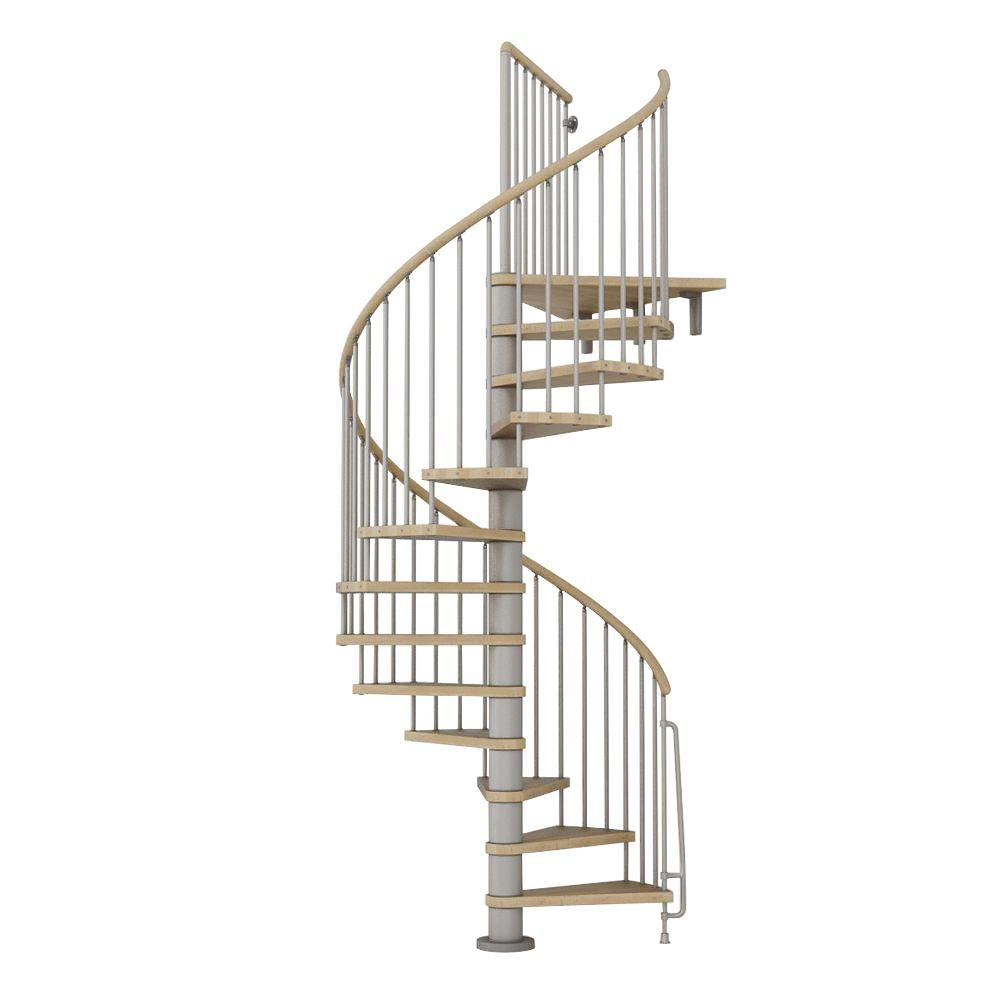 Phoenix 55 in. Grey Spiral Staircase Kit